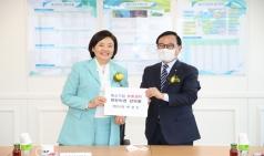박상돈 시장,  천안 찾은 박영선 장관에 중소기업유통센터 '천안유치' 깜짝 제안